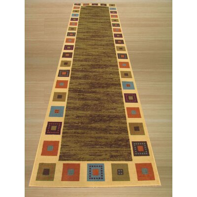 Vera Green/Ivory Area Rug Rug Size: Runner 27 x 91