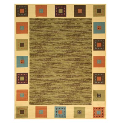Vera Green/Ivory Area Rug Rug Size: 53 x 73