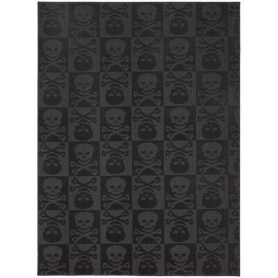 Black Indoor/Outdoor Area Rug Rug Size: 5 x 7