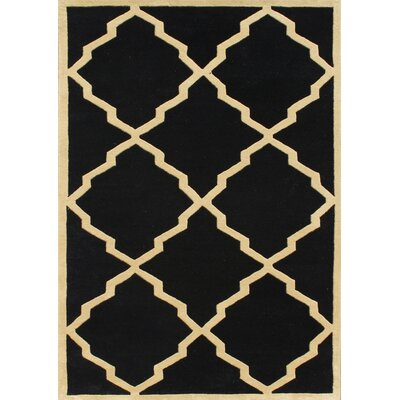 Jamestown Hand-Woven Black Area Rug Rug Size: 7 x 9
