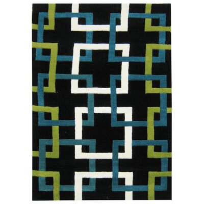 Jacob Hand-Woven Black Area Rug Rug Size: 8 x 10