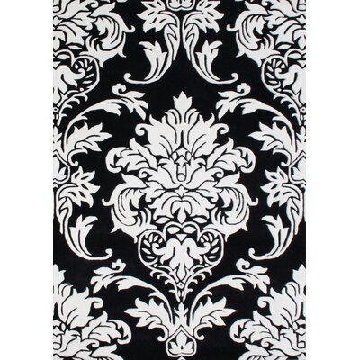 Vivian Hand-Woven Off-White/Black Area Rug Rug Size: 5 x 8