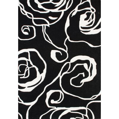 Yorktown Hand-Woven Black Area Rug Rug Size: 5 x 8