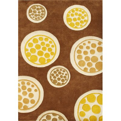 Corina Hand-Woven Brown/Yellow Area Rug Rug Size: 5 x 8