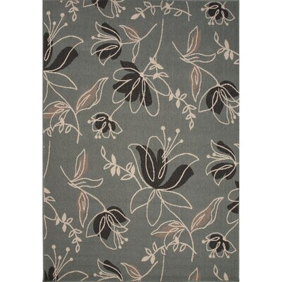 Somers Hand-Hooked Blue/Black Indoor/Outdoor Area Rug Rug Size: 53 x 76