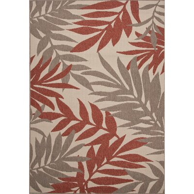 Somers Hand-Hooked Ivory/Red Indoor/Outdoor Area Rug Rug Size: 53 x 76