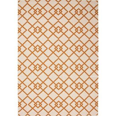 Somers Hand-Hooked Taupe/Orange Indoor/Outdoor Area Rug Rug Size: 53 x 76