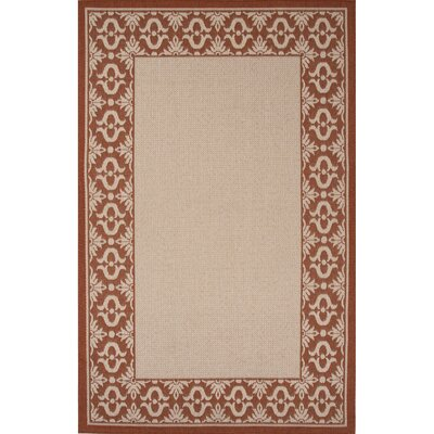 Middlefield Hand-Hooked Ivory/Red Indoor/Outdoor Area Rug Rug Size: 53 x 76