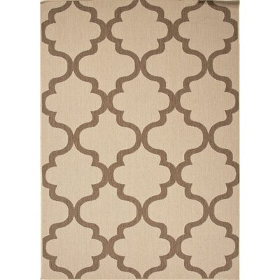 Middlefield Hand-Hooked Taupe/Brown Indoor/Outdoor Area Rug Rug Size: 53 x 76