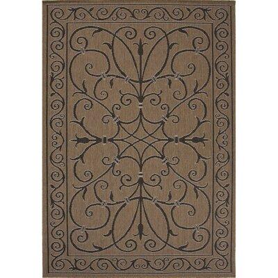 Middlefield Hand-Hooked Brown/Black Indoor/Outdoor Area Rug Rug Size: 53 x 76