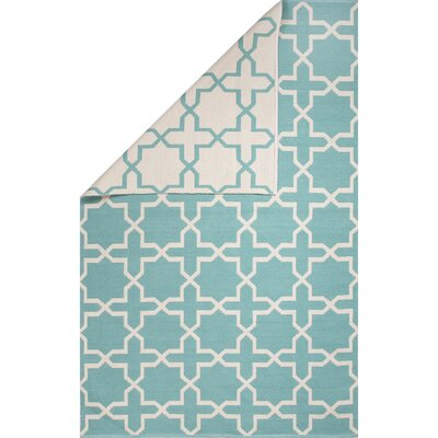Alice Hand-Woven Blue/Ivory Area Rug Rug Size: 5 x 8