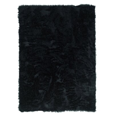 Samantha Hand-Tufted Faux Sheepskin Black Area Rug Rug Size: 5 x 7
