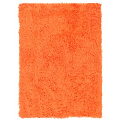 Samantha Faux Sheepskin Orange Area Rug Rug Size: 5 x 7