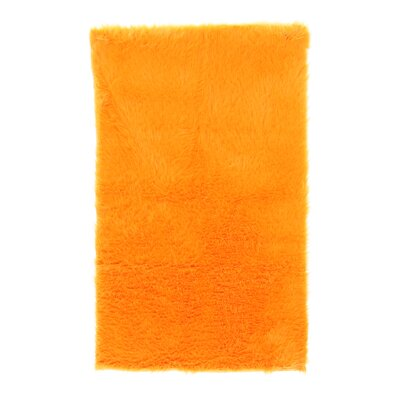 Samantha Faux Sheepskin Orange Area Rug Rug Size: 3' x 5'