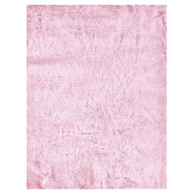 Samantha Faux Sheepskin Pink Area Rug Rug Size: Rectangle 5 x 7