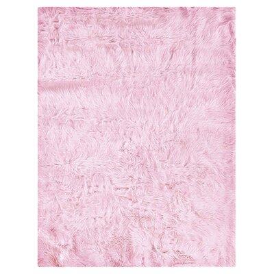 Samantha Faux Sheepskin Pink Area Rug Rug Size: Rectangle 18 x 26