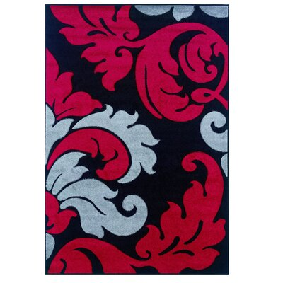 Black/Red Area Rug Rug Size: Rectangle 5 x 77