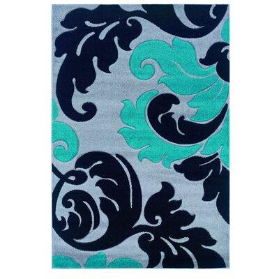 Grey/Turquoise Area Rug Rug Size: Rectangle 8 x 103