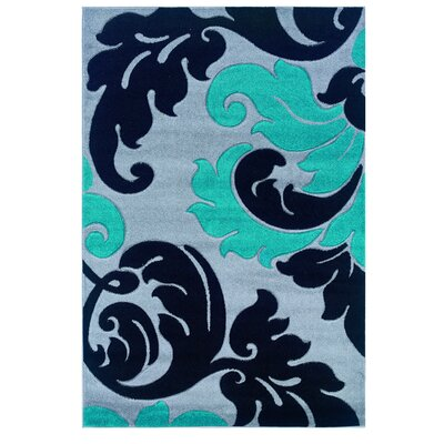 Grey/Turquoise Area Rug Rug Size: Rectangle 5 x 77