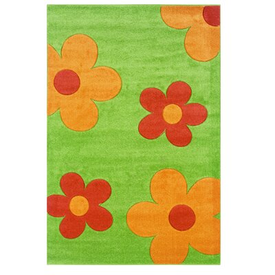 Green/Orange Area Rug Rug Size: 110 x 210