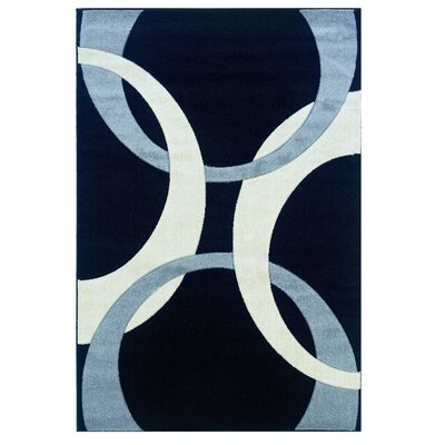 Black/Blue Area Rug Rug Size: Rectangle 5 x 77