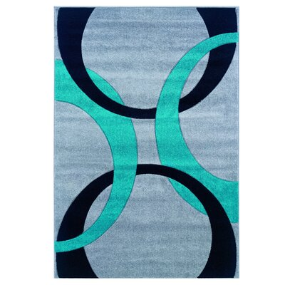 Grey/Turquoise Area Rug Rug Size: Rectangle 8 x 10