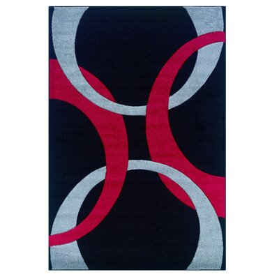 Manchester Hand-Woven Black/Red Area Rug Rug Size: 110 x 210