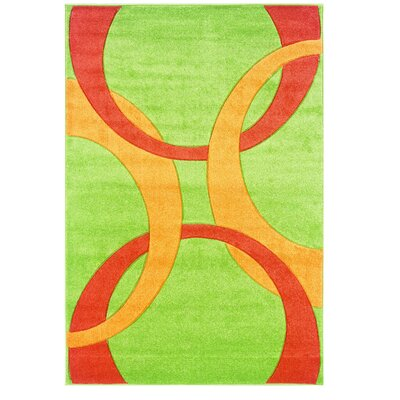 Manchester Hand-Woven Green/Orange Area Rug Rug Size: 110 x 210
