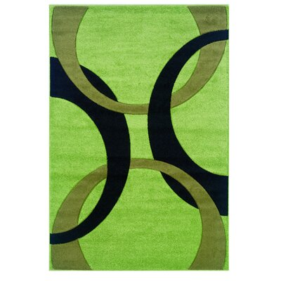 Manchester Hand-Woven Green/Black Area Rug Rug Size: Rectangle 110 x 210