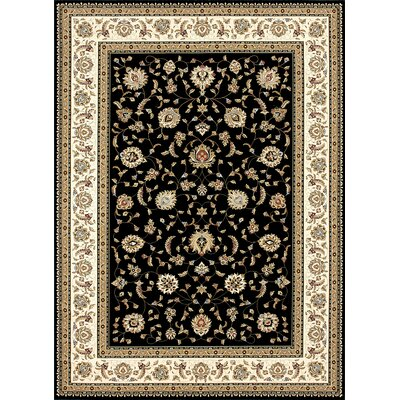 Wentworth Black/Ivory Area Rug Rug Size: 92 x 127