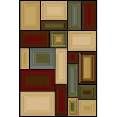Ellen Beige/Red Area Rug Rug Size: 33 x 53