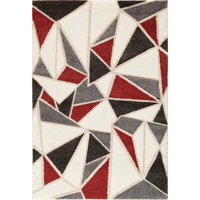 Akim Snow/Red Area Rug Rug Size: 5 x 76