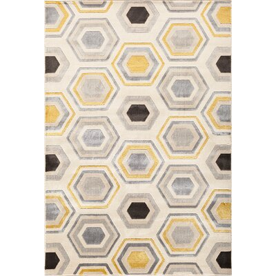 Suffolk Beige/Gold Area Rug Rug Size: 710 x 910