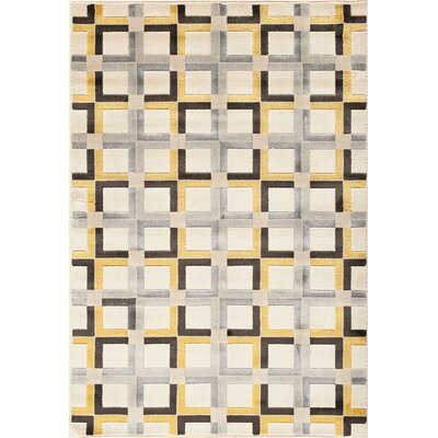 Suffolk Grey/Yellow Area Rug Rug Size: 710 x 910