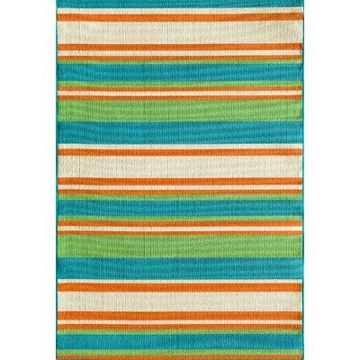 Lindsay Orange/Blue Indoor/Outdoor Area Rug Rug Size: 67 x 96