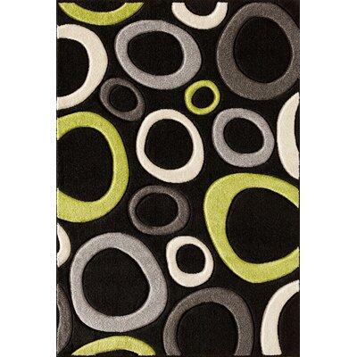 Alford Black/Lime Area Rug Rug Size: 710 x 910
