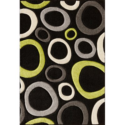 Alford Black/Lime Area Rug Rug Size: 5 x 73
