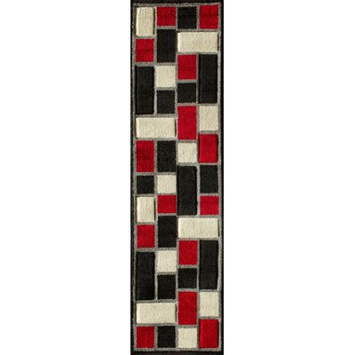 Alford Hand-Woven Black/Red Area Rug Rug Size: 5 x 73