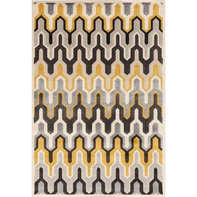Suffolk Grey/Yellow Area Rug Rug Size: 710 x 910