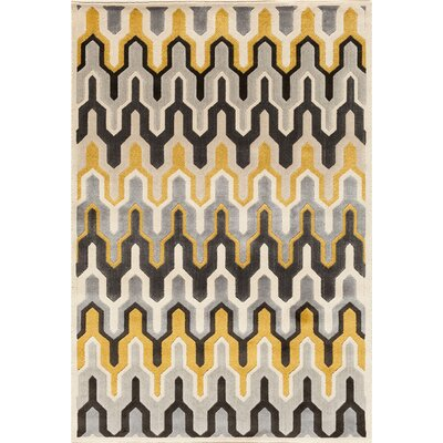 Suffolk Grey/Yellow Area Rug Rug Size: 5 x 76