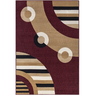 Bilbrey Dark Red Area Rug Rug Size: 710 x 910