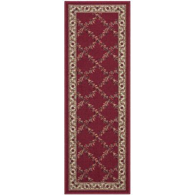 Ryan Dark Red Indoor/Outdoor Area Rug Rug Size: Runner 110 x 7