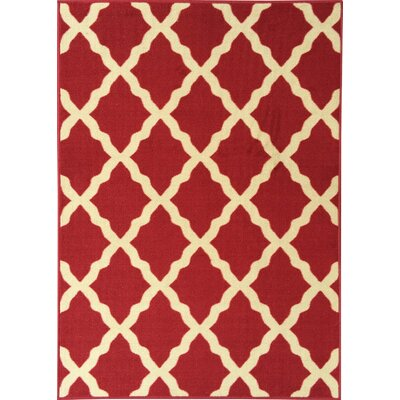 Galesburg Dark Red Area Rug Rug Size: 5 x 7