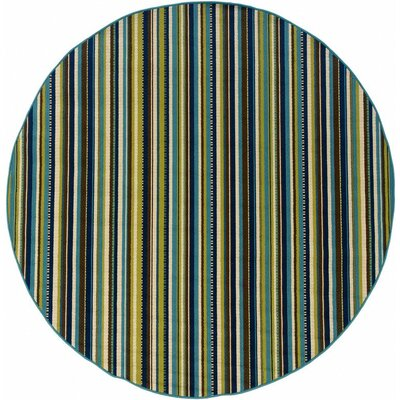 Newfield Blue/Brown Indoor/Outdoor Area Rug Rug Size: Round 710