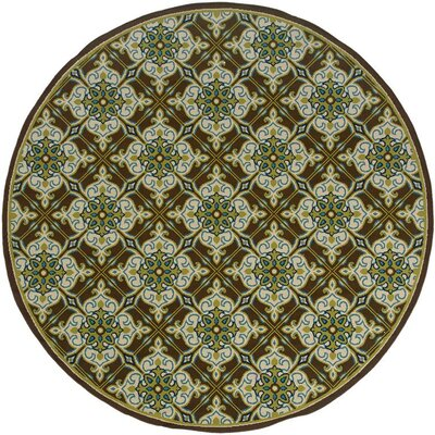 Newfield Brown/Ivory Indoor/Outdoor Area Rug Rug Size: Round 710