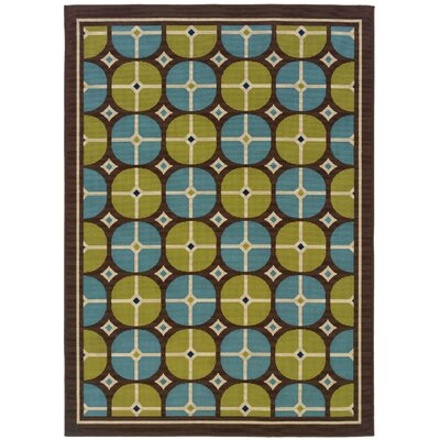 Newfield Brown/Blue Indoor/Outdoor Area Rug Rug Size: 37 x 56