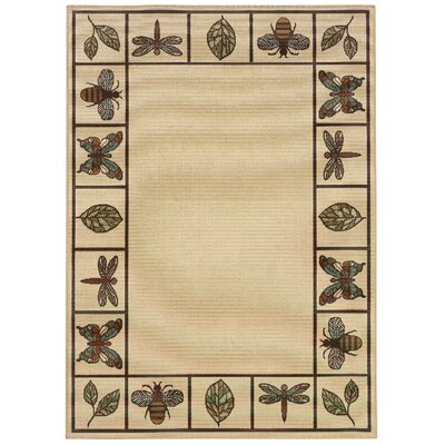 Newfield Hand-Woven Ivory/Brown Indoor/Outdoor Area Rug Rug Size: Rectangle 37 x 56