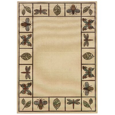 Newfield Ivory/Brown Indoor/Outdoor Area Rug Rug Size: 6'7