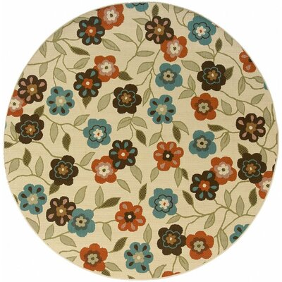 Newfield Ivory/Brown Indoor/Outdoor Area Rug Rug Size: Round 710