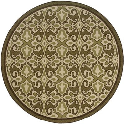 Newfield Green/Ivory Indoor/Outdoor Area Rug Rug Size: Round 710